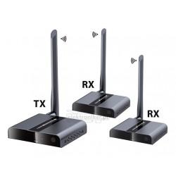 Bezprzewodowy transmiter HDMI 2xRX do 50m