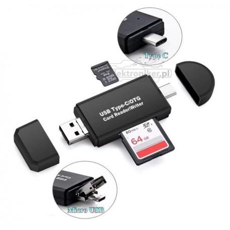 Adapter Typu C, Micro USB OTG, 2x czytnik kart