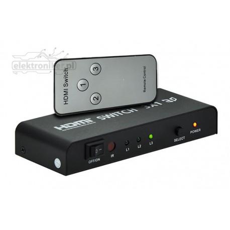 Przełącznik, sumator HDMI 3x1 z pilotem