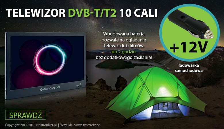 Telewizor DVB-T/T2 10 cali, 12V