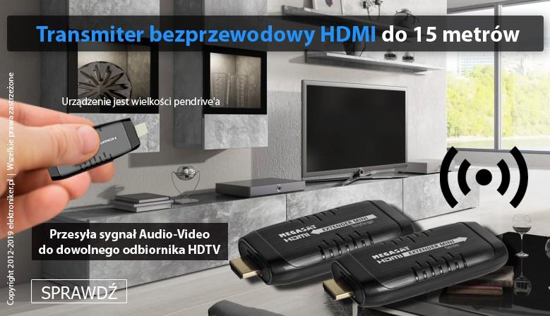 Bezprzewodowy transmiter HDMI 2x Dongle 15m