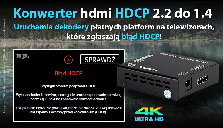 Konwerter hdmi HDCP 2.2 do 1.4