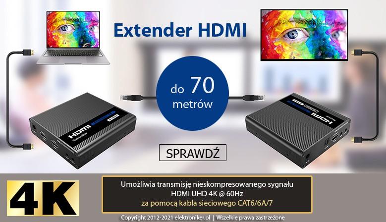 Przedłużacz Extender 4K HDMI po skrętce 70m
