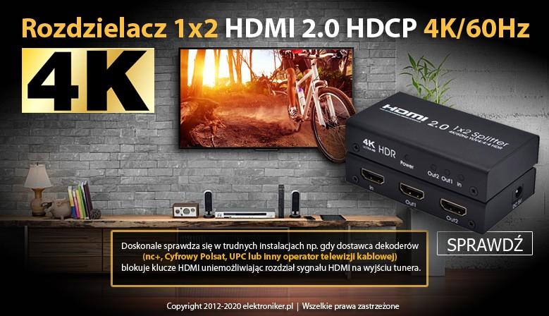 Rozdzielacz 1x2 HDMI 2.0 HDCP 4K/60Hz