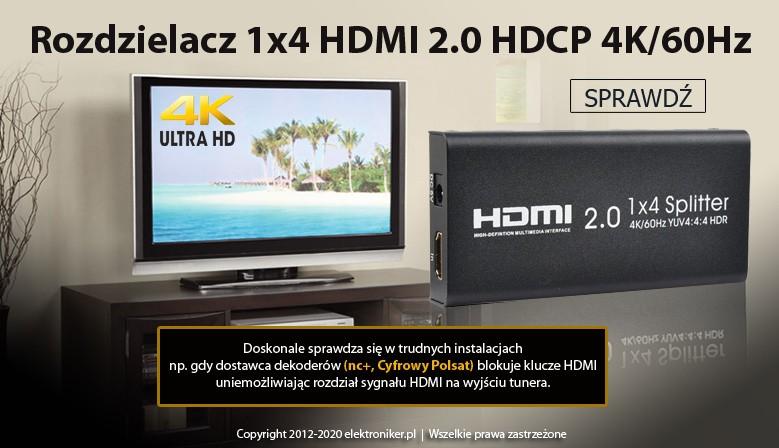 Rozdzielacz 1x4 HDMI 2.0 HDCP 4K/60Hz