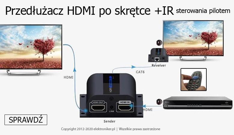 Przedłużacz Extender HDMI po skrętce 60m +wej